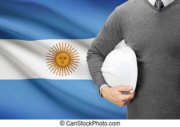 Architect with flag on background - Argentina