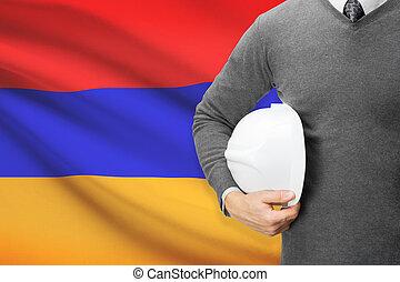 Architect with flag on background - Armenia