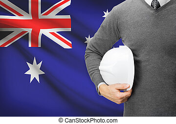 Architect with flag on background - Australia