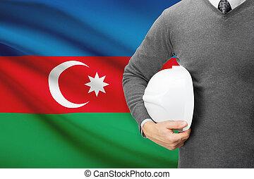 Architect with flag on background - Azerbaijan