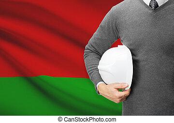 Architect with flag on background - Belarus