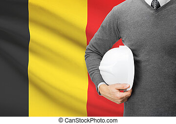 Architect with flag on background - Belgium