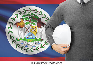 Architect with flag on background - Belize