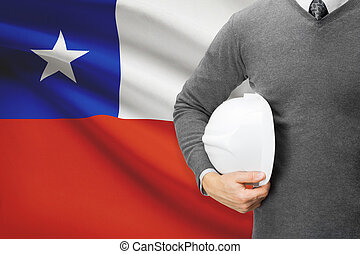 Architect with flag on background - Chile