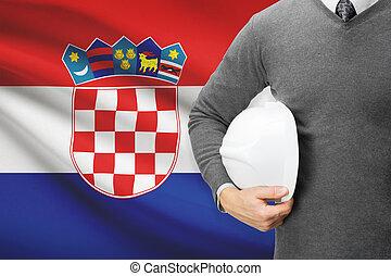 Architect with flag on background - Croatia
