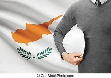 Architect with flag on background - Cyprus