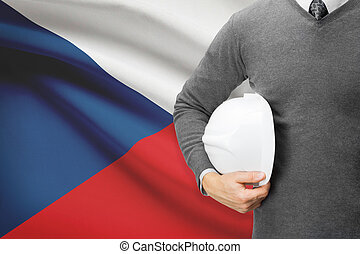 Architect with flag on background - Czech Republic