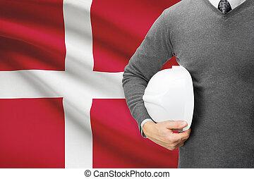 Architect with flag on background - Denmark
