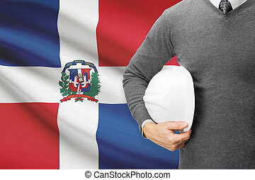 Architect with flag on background - Dominican Republic