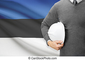 Architect with flag on background - Estonia