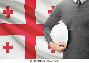 Architect with flag on background - Georgia
