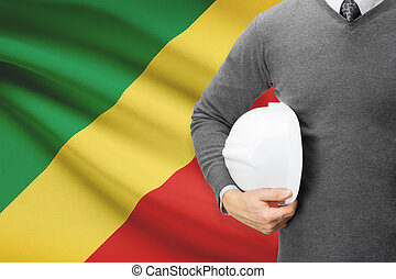 Architect with flag on background - Republic of the Congo