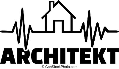 Architect with heartbeat line and german job title