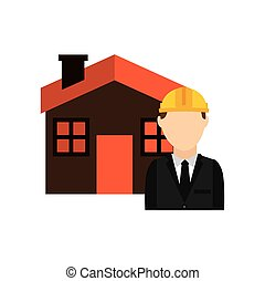 architect with house isolated icon design