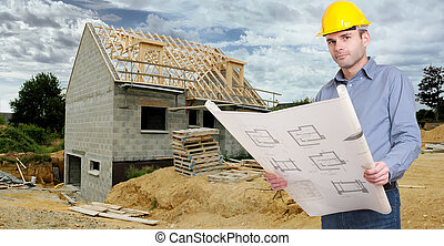 architect with plans in a construction site