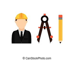 architect with tools isolated icon design