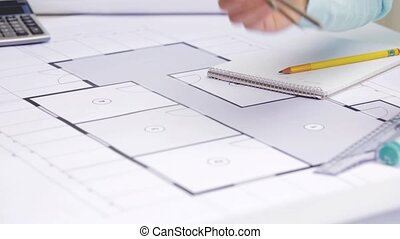 architect woman measuring blueprint with compass - business,...