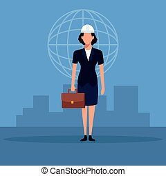 Architect work concept - Woman architect with briefcase over...