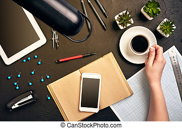 Architect working on blueprint. Architects workplace - architectural project, blueprints, tablet pc. Engineering tools. Top view