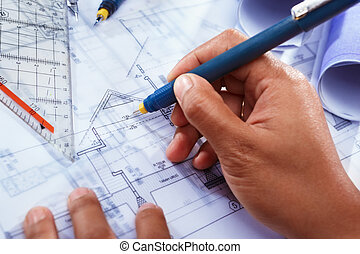 Architect working on house deisgn