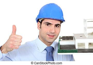 architecte, à, modèle, logement