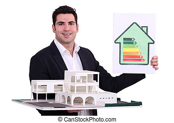 architecte, à, une, énergie, classement, signe