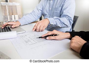 architecte, équipement, main, personne, impression, ingénieur, plan, dessin, bleu