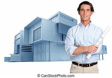 architecte, bâtiment moderne