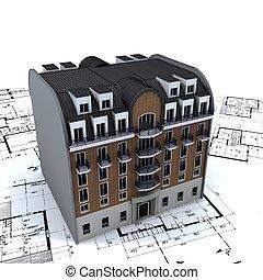 architecte, bâtiment, résidentiel, modèles, sommet
