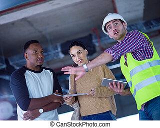 architecte, business, multiethnic, construction, gens, site, ingénieur