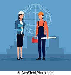 architecte, construction, collaboration