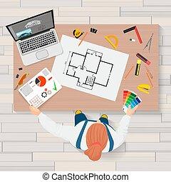 architecte, construction, ingénierie, planification, et, créer, processus, à, proffesional, outils, workplace., projets, technique, concept., constructeur, lieu travail, sommet, vue.