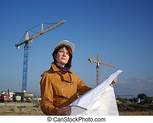 architecte, contre, bleu, construction, ciel, jeune, site, plan, regarder, devant