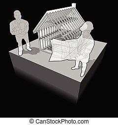 architecte, diagramme, client, cadre, maison