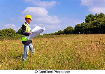 architecte, examiner, a, nouveau, bâtiment, intrigue