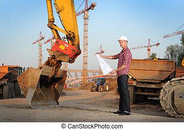 architecte, fonctionnement, dehors, sur, a, site construction