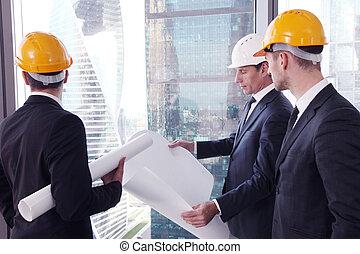 architecte, hommes affaires, équipe