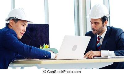 architecte, ingénieur, table réunion, bureau