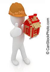 architecte, maison, haut, arrière-plan., pouce, allumettes, isolé, image., homme, chapeau, bûche, dur, pattern., 3d, blanc