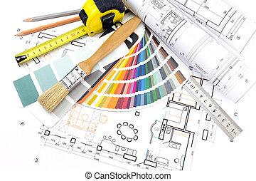 architecte, modèles, travail, outils, fond
