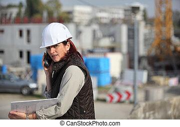 architecte, site, femme