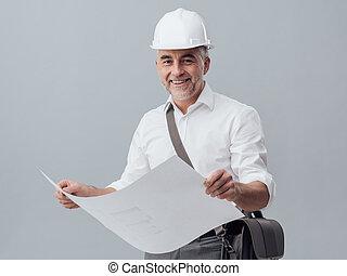 architecte, vérification, a, plan