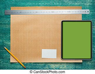 architecte, worplace, sur, vendange, bureau bois, table., construction, arrière-plan., ingénierie, outils, à, tablette, pc., sommet, vue.