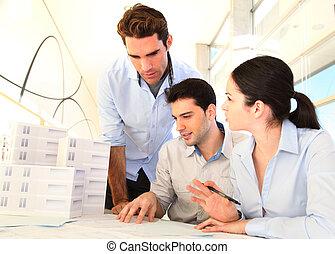 architecten, vergadering, jonge, zakelijk