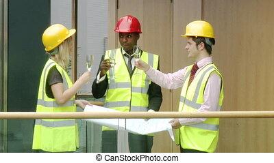 architectes, construction, projet, champagne, célébrer