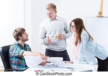 architectes, fonctionnement, dans, bureau