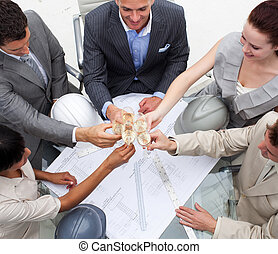 architectes, grillage, groupe, champagne, bureau