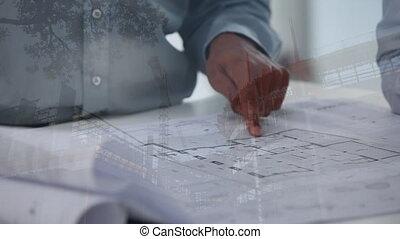 architectes, modèles, site, discuter, sur, construction