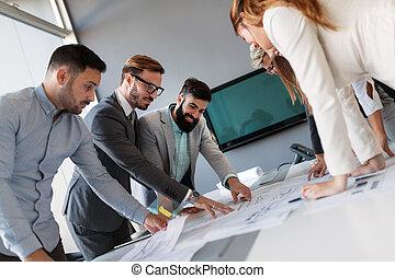 architectes, professionnels, brain-storming, ensemble, ...