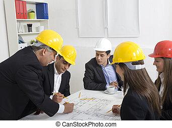 architectes, projet, construction, bureau, fonctionnement